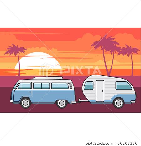 Retro van with camper trailer and sea beach 36205356