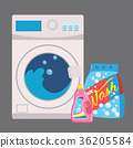 washing machine in flat style. isolated on blue 36205584