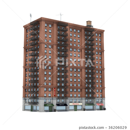 3d rendering of a red brick apartment building - Stock Illustration ...
