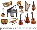Vector music concert sketch instruments icons 36206127