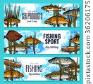 Vector fishes sketch banners fishing sport market 36206175