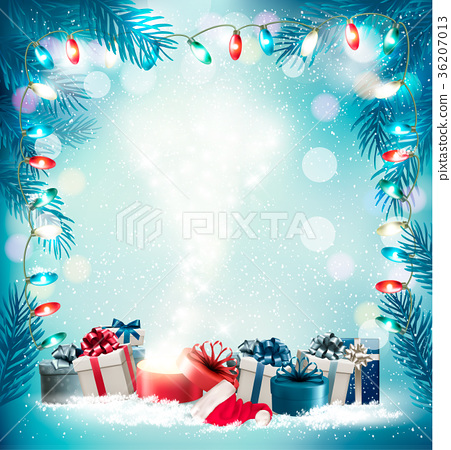 Christmas holiday background with gift boxes 36207013