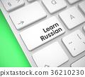 Learn Russian on White Keyboard Button. 3D. 36210230