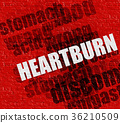 Health concept: Heartburn on the Red Brick Wall . 36210509