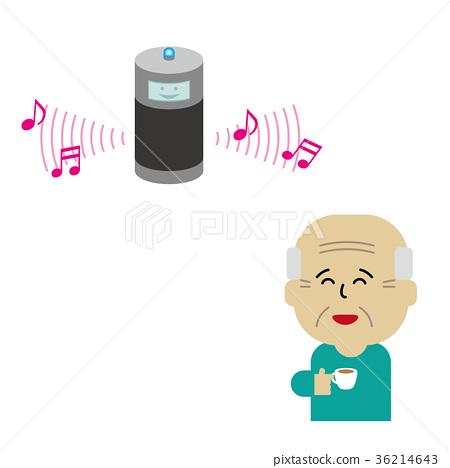 smart speaker, elder, elderly 36214643