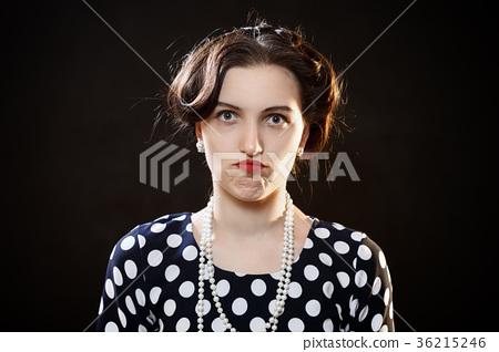 shocked girl on black 36215246