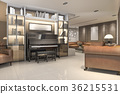 classic warm living room with piano and armchair 36215531