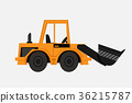 Grunge Tractor heavy bulldozer vector 36215787