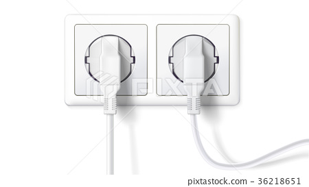 Electric plugs and socket. Realistic white plugs 36218651