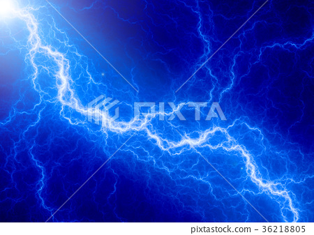 Blue Lightning Abstract Electrical Background Stock