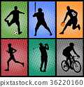 set of sport silhouettes halftone background 36220160
