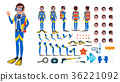 Diver Man Vector. Animated Character Creation Set 36221092