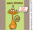 happy birthday card with funny doodle cat 36221507