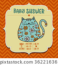 baby shower card template with fat doodle cat 36221636