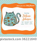 baby shower card template with fat doodle cat 36221640