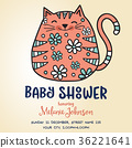 baby shower card template with fat doodle cat 36221641