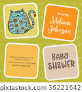baby shower card template with fat doodle cat 36221642