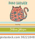 baby shower card template with fat doodle cat 36221648