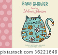 baby shower card template with fat doodle cat 36221649