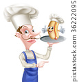 Hot Dog Cartoon Chef Pointing 36222095