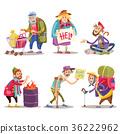 Beggars, homeless, tramps, hobo, funny cartoon set 36222962
