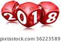 Happy New Year 2018 with Red Dice 36223589