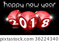 Happy New Year 2018 with Red Dice 36224340