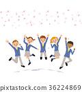 學生在櫻花下跳躍 36224869