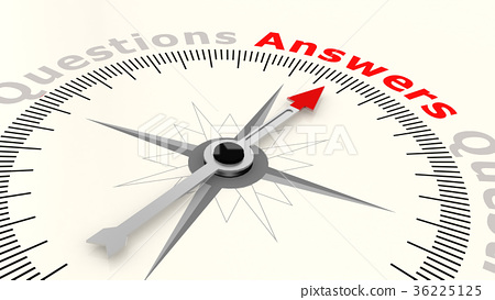 Compass with arrow pointing to the word answers 36225125