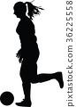 soccer women silhouette. girl play soccer 36225558