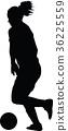soccer women silhouette. girl play soccer 36225559