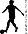 soccer women silhouette. girl play soccer 36225560
