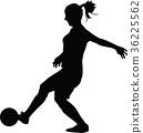 soccer women silhouette. girl play soccer 36225562