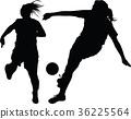 soccer women silhouette. girl play soccer 36225564