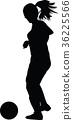 soccer women silhouette. girl play soccer 36225566