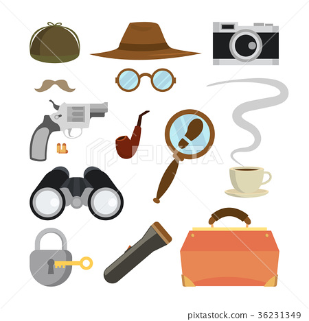 Detective Items Set Vector. Tec Agent Accessories 36231349