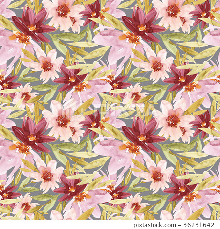 Seamless pattern with flowers watercolor. Gentle 36231642