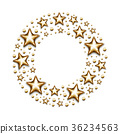 Christmas gold stars and beads in circle on white 36234563
