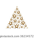 Christmas gold stars and beads in triangle on 36234572