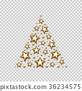 Christmas gold stars and beads in triangle on 36234575