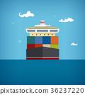 Cargo container ship, vector illustration 36237220