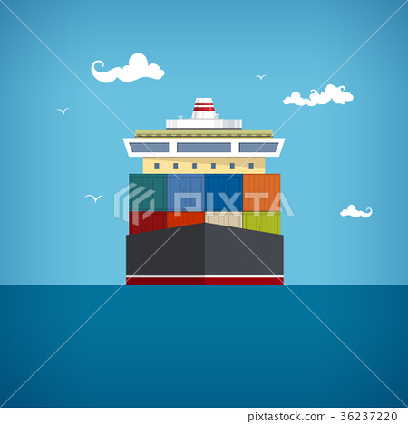 Cargo container ship, vector illustration 36237220