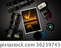 camera lens and image on black background 36239743