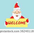 Santa Claus holding poster welcome 36240118