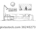 Sofa, shelves in the wall, table and floor lamp. 36240273