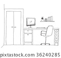 Sketch the room. Office chair, desk 36240285