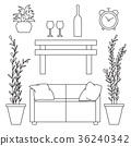 Sketch set isolated furniture.  36240342