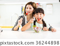 Happy mother and child in kitchen eating salad 36244898