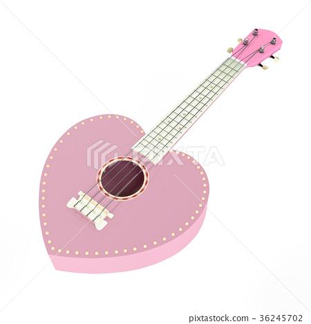 Ukulele sweet pink heart isolated 36245702