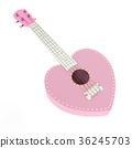 Ukulele sweet pink heart isolated 36245703